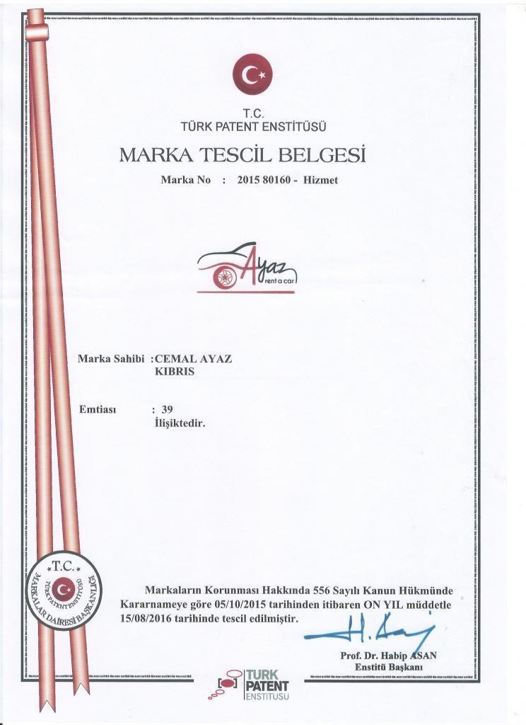 Ayaz Rent a Car Marka Tescil Patent